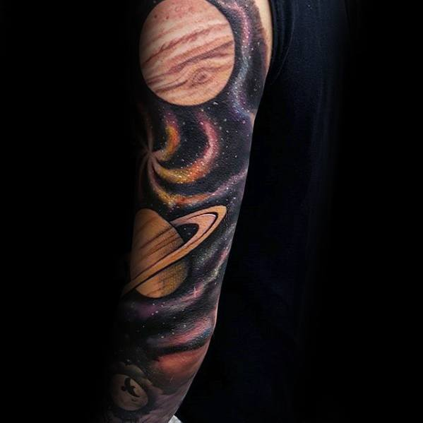 Realistic saturn and jupiter full sleeve tattoo