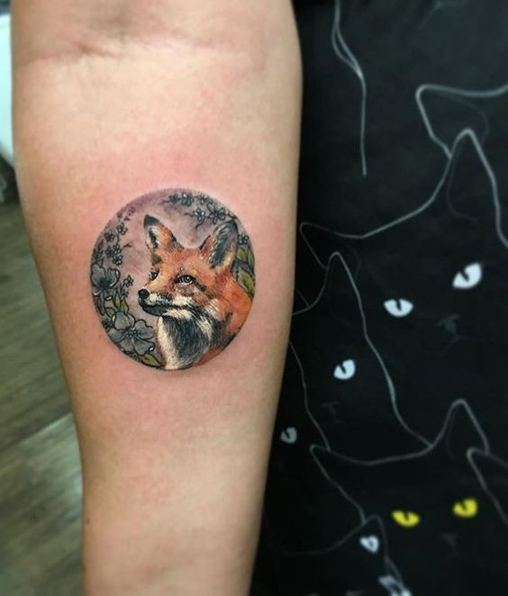Red fox tattoo in circle by tattooist eva krbdk