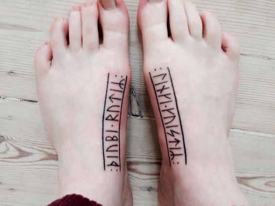 Rune tattoos on feet