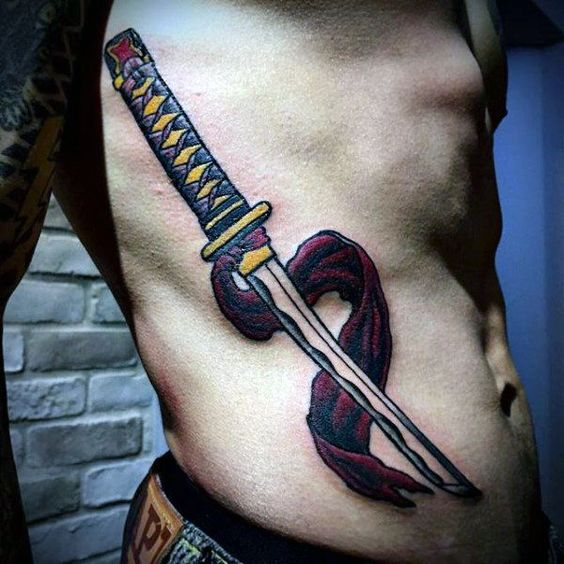 Samurai sword tattoo on the right side