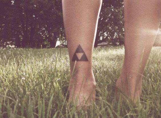 Simple triforce tattoo on the ankle