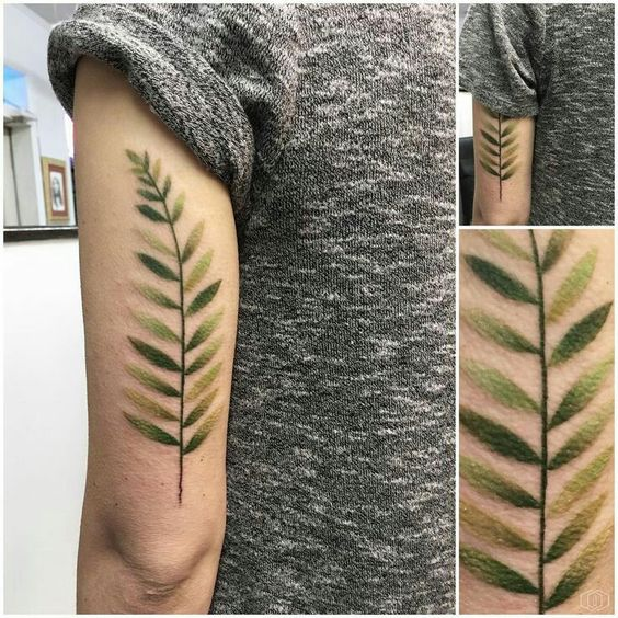 Subtle green tattoo of a fern leaf on the left arm