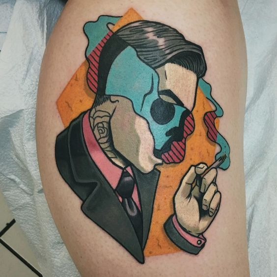 Surrealistic neo traditional tattoo