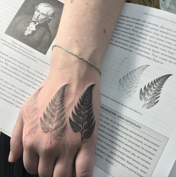 Three dotwork ferns on the right hand by sasha masiuk