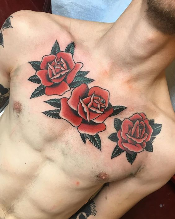 Three roses tattoo on the chest