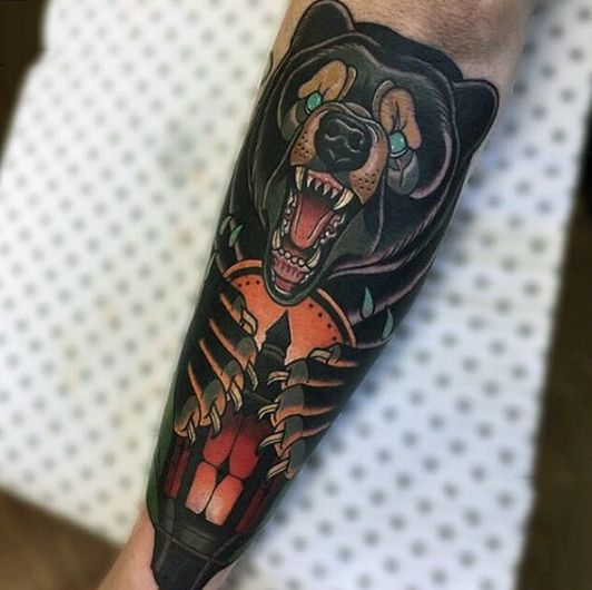 Traditional bear and lantern tattoo