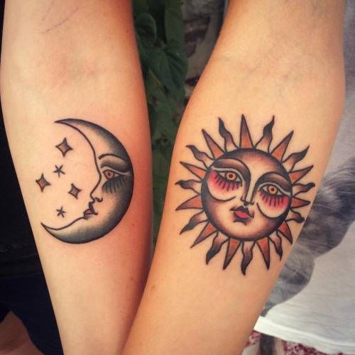 Traditional sun and moon tattoos on the arms
