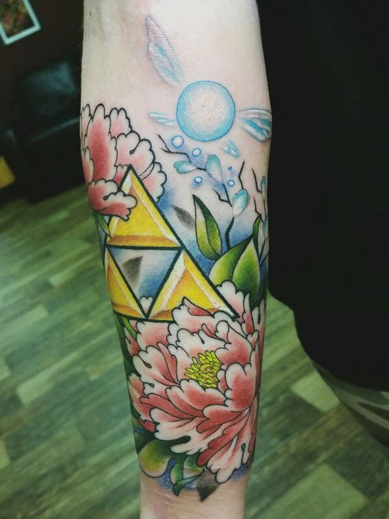 Triforce peony and navi tattoo on the arm