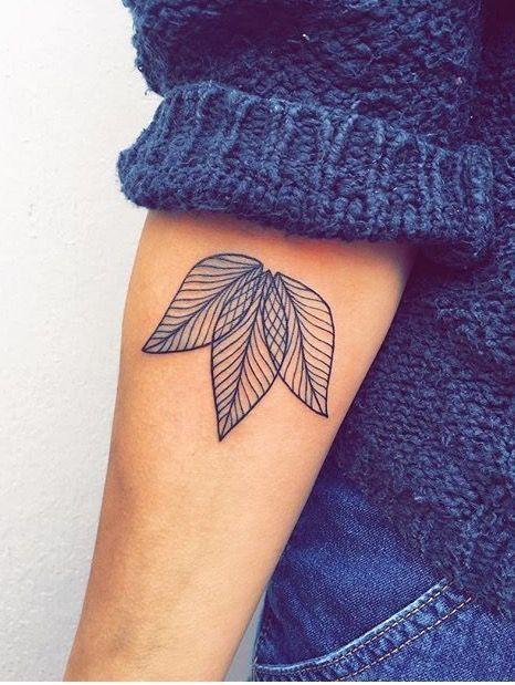 Triple minimal leaf tattoo