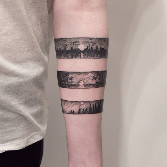Tripple landscape armband tattoo