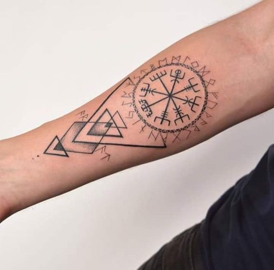 Vegvisir and runes tattoo on the right arm