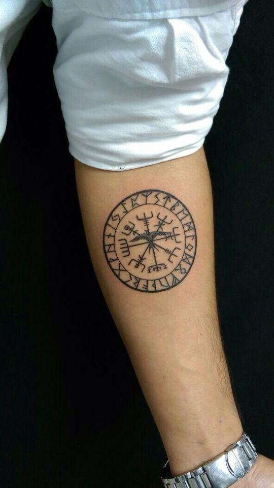 Vegvisir symbol and runes circle tattoo