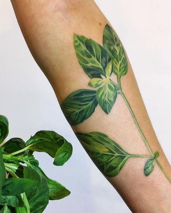 Watercolor basil leaves tattoo
