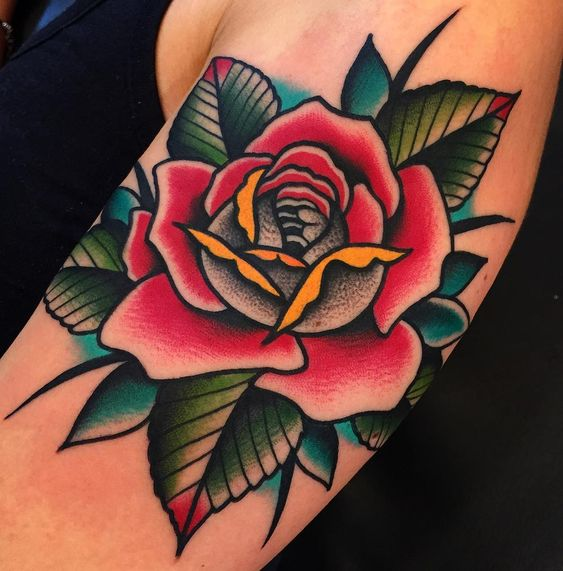 Wonderful red rose tattoo by samuel briganti