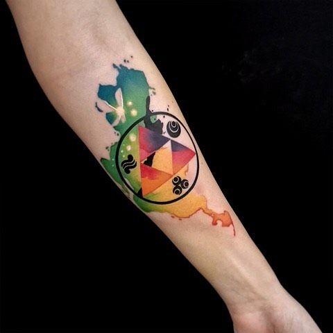 Zelda watercolor triforce tattoo