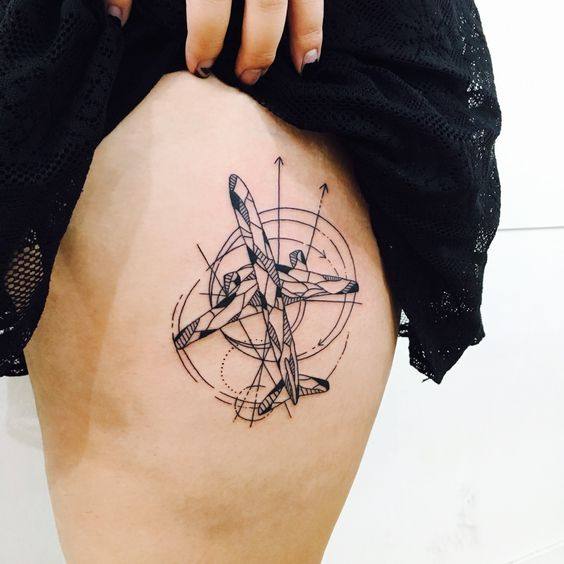Abstract geometric plane on the thigh