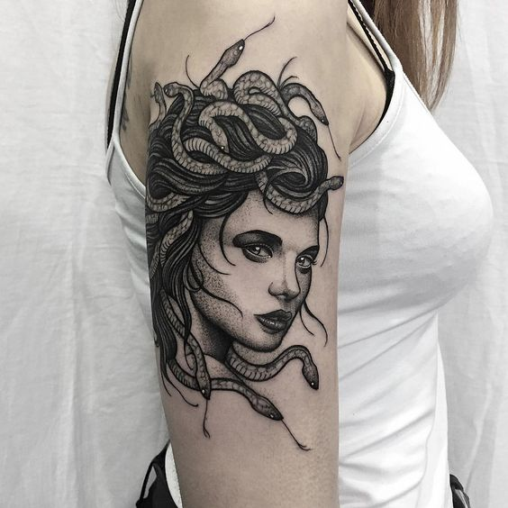 Another blackwork medusa face tattoo