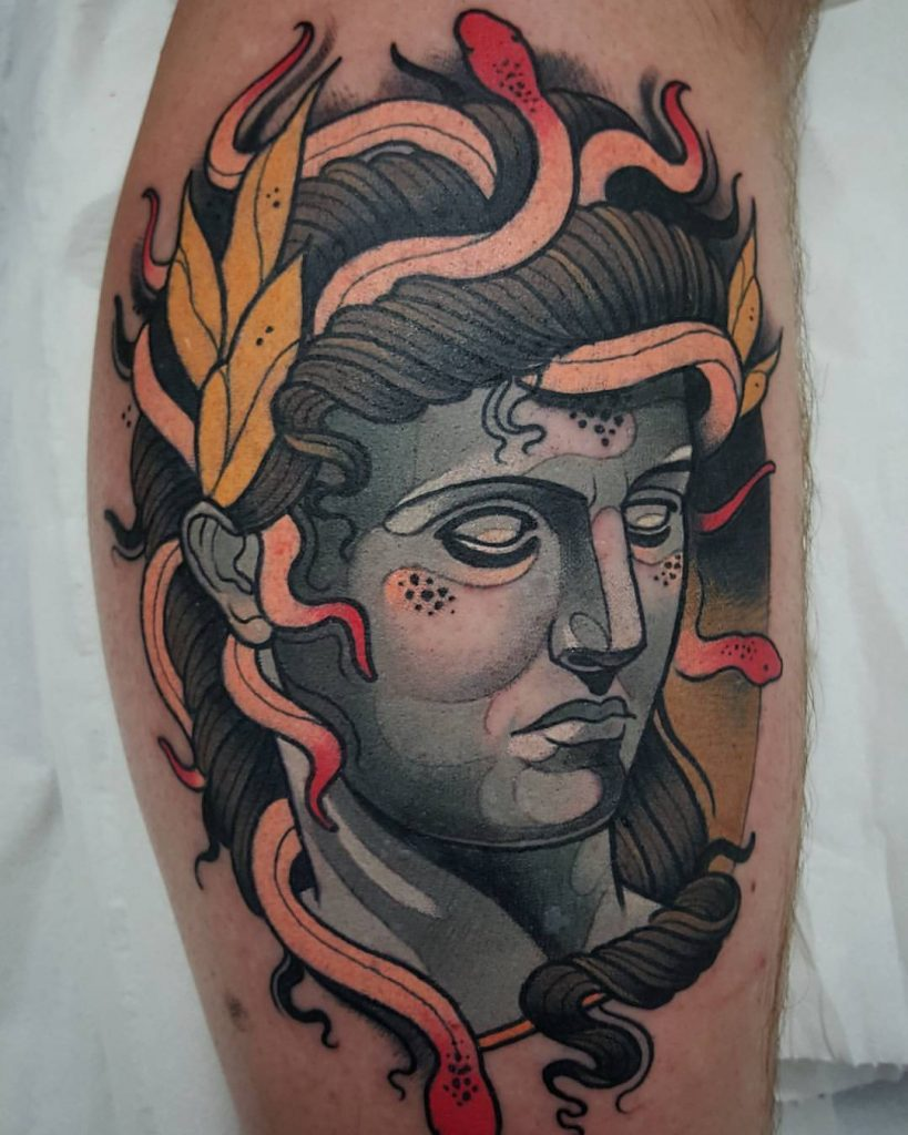 Another neo traditional medusa face tattoo