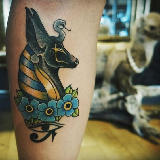 Anubis with forget me nots and eye of the horus