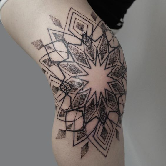 Beautiful dotwork style geometric mandala knee tattoo