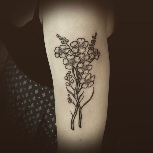 Black and grey forget me not bundle tattoo