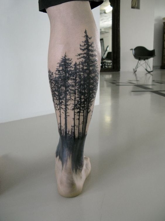 Black forest tattoo on the right calf
