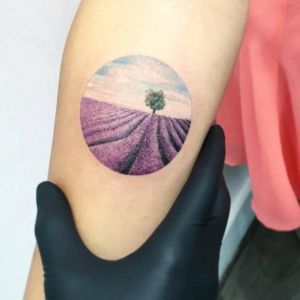 Circular lavender field tattoo by eva krbdk