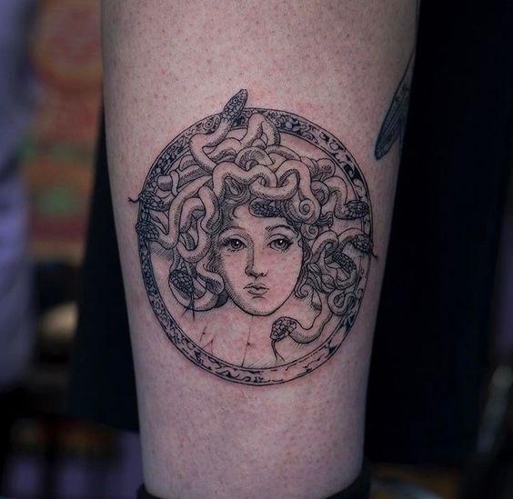 Circular medusa tattoo