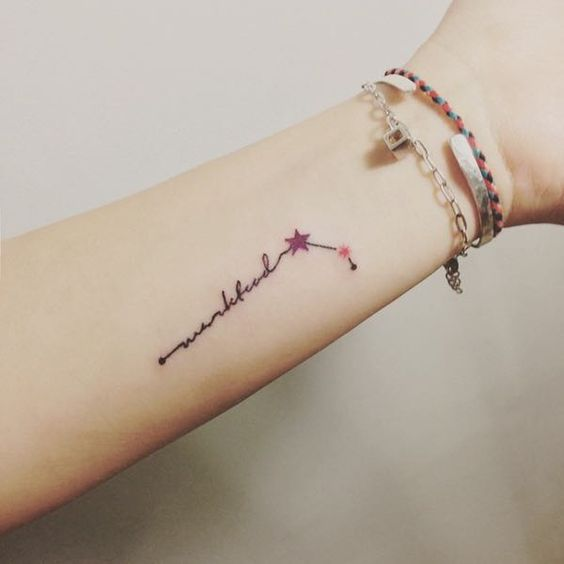 Creative aries constellation and name tattoo