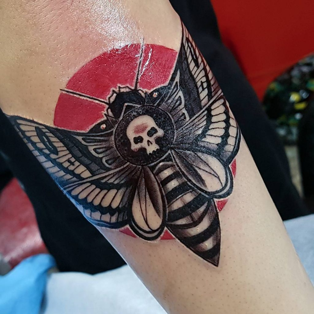 Death moth and blood moon tattoo