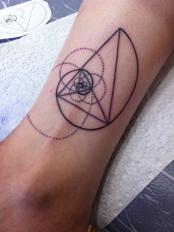 Dotted circles and golden ratio tattoo
