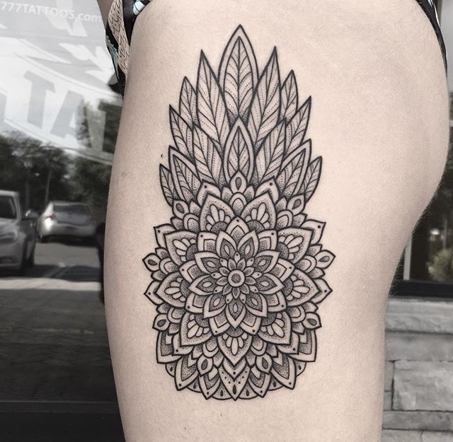 Dotwork mandala pineapple tattoo on the thighjpg