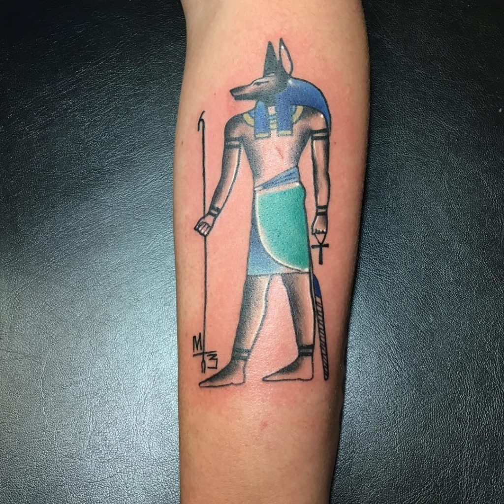 Egyptian style anubis tattoo