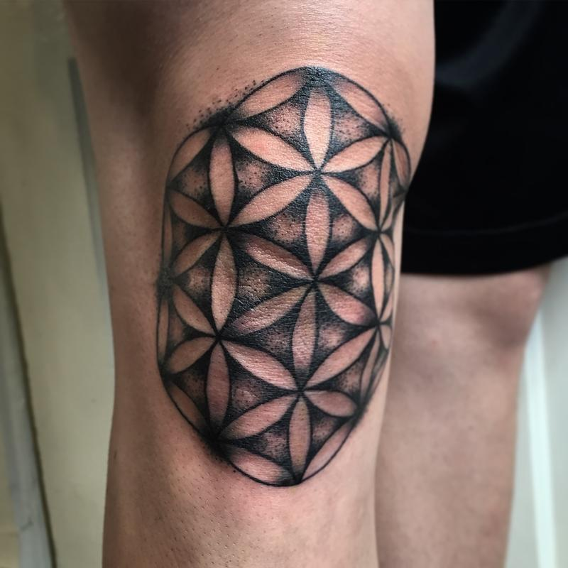 Flower of life knee tattoo idea