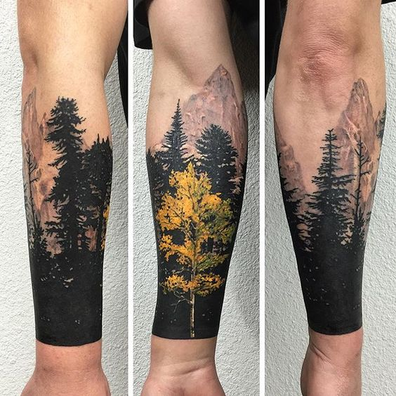 Forest tattoo with a yellow tree