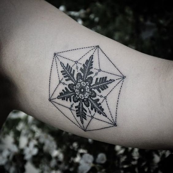 Geometric black snowflake