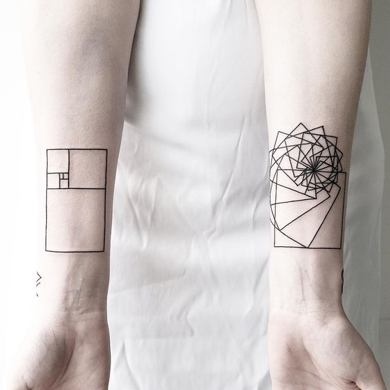 Golden ratio and fibonacci spiral tattoo on the wrist
