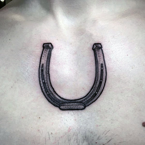 Gradient style 3d horseshoe tattoo on the chest