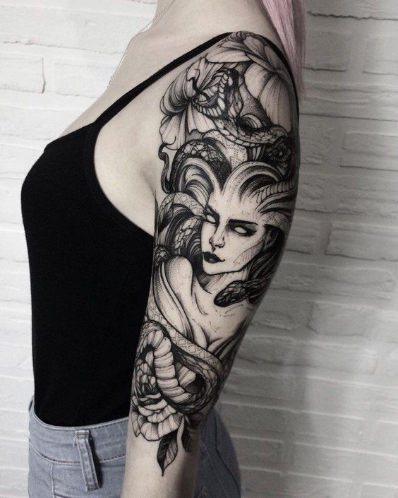 Half sleeve black medusa tattoo