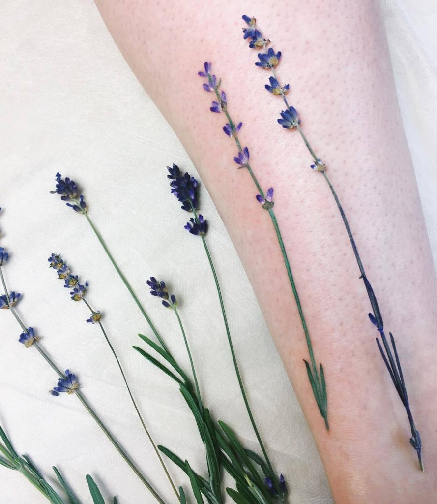 Incredibly realistic lavender tattoo