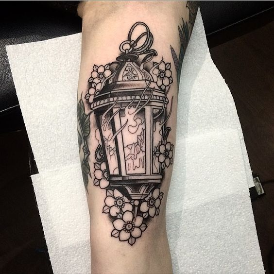 Lantern with a burn out candle inside