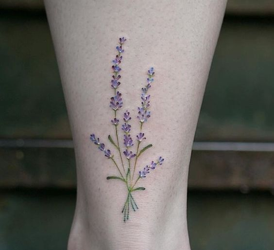 Lavender bouquet tattoo on the left ankle