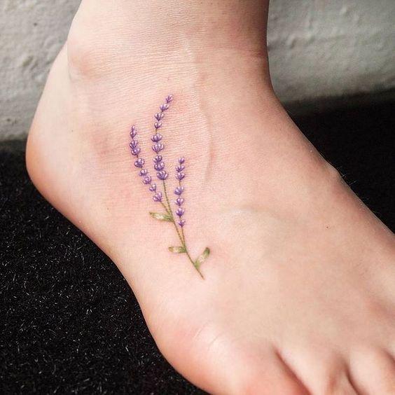 Lavender foot tattoo
