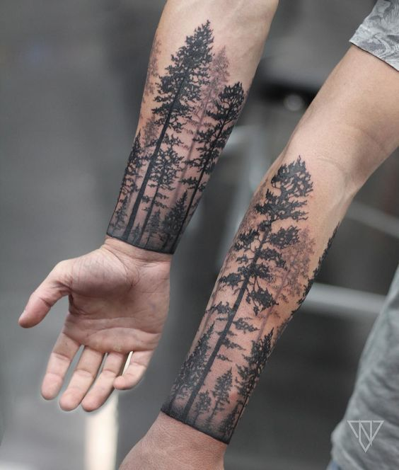 Matching forest tattoo for brothers