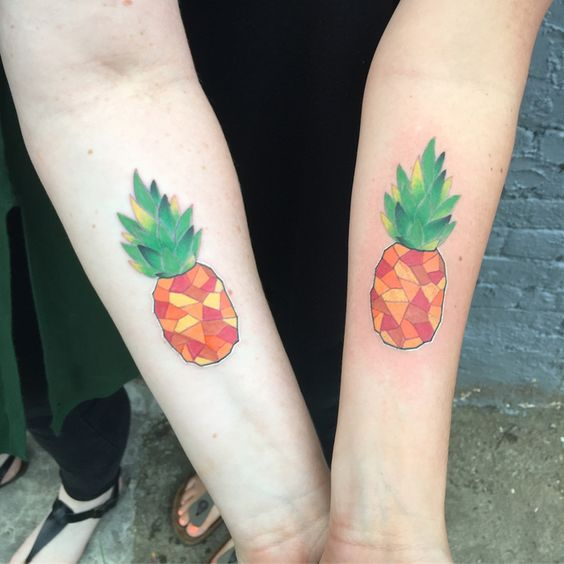 Matching geometric pineapple tattoos for best friends
