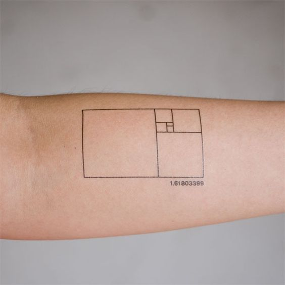 Minimal golden proportion tattoo on the arm