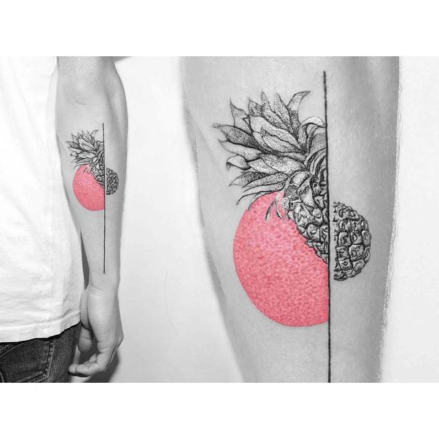 Minimalist monocrhome pineapple tattoo on the forearm