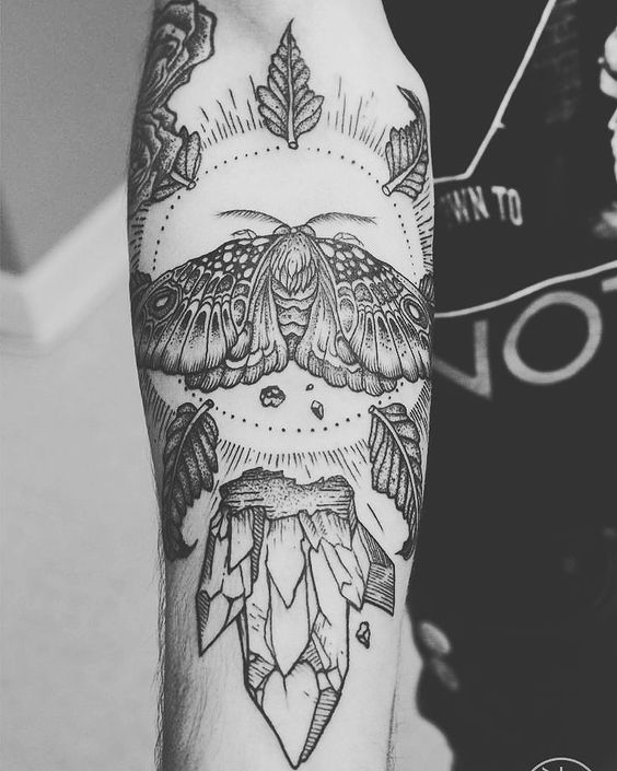 Moth leaves and crystal tattoo