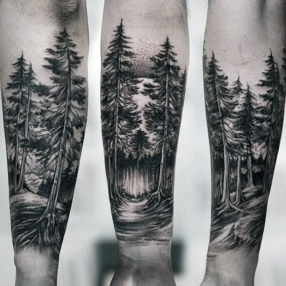 Mystical forest tattoo on the forearm