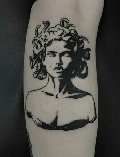 Negative space medusa tattoo